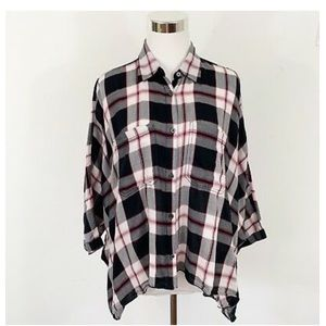 Ralph Lauren denim supple plaid batwing button Up